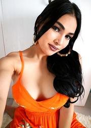 TS Filipina Orange Sexy Dress Mirror Selfie