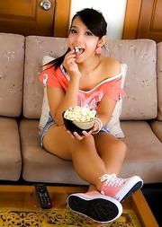 Cute Ladyboy Tao waits for date in short denim mini