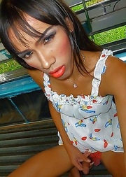 Happy pulls out her uncut Ladyboy Happy dickclit in taxi