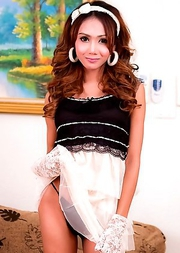 Slender and dark Ladyboy Arin shows all in girlfriend dress