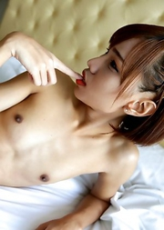 Skinny 18 year old Thai ladyboy Natty gives a hot blowjob to white tourist