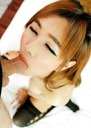 Vicky pristine Ladyboy pussy is creampied in a slutwear black miniskirt.