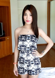 20 year old Thai ladyboy Spor stripping for white tourist