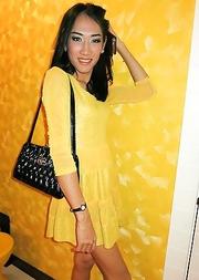 Tgirl Om Yellow Dress Top Bareback