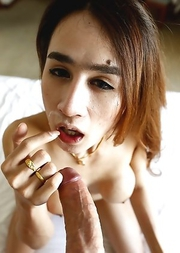 20yo busty Thai ladyboy Four gets a facial after fucking white cock